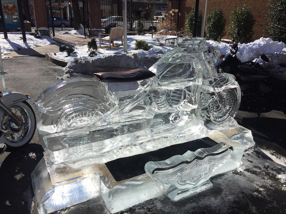 Hatfield Artist Wow's Carlisle Ice Fest Crowd with Frozen Harley Motorcycle Sculpture