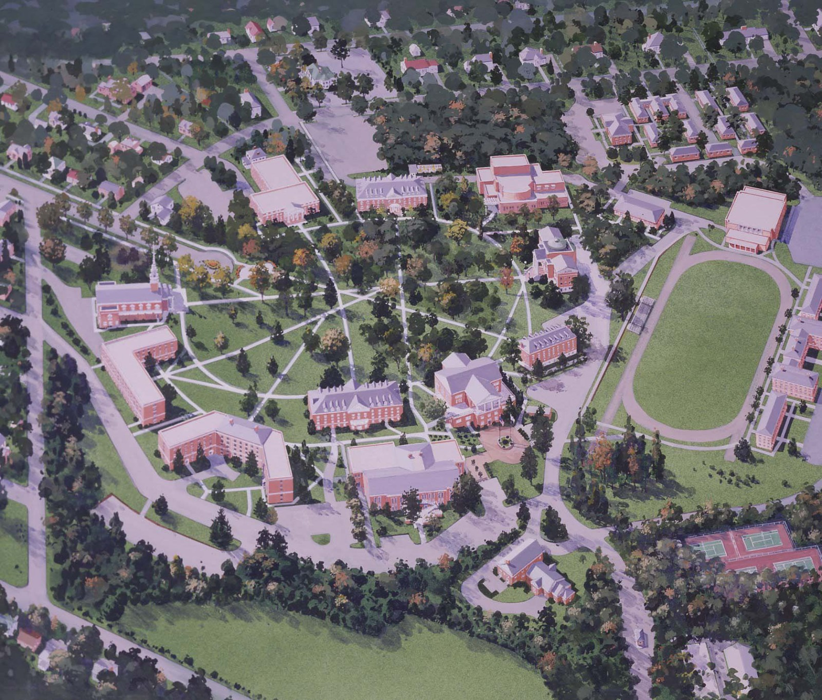 Montco Campus Map.Campus Map Aerial View Rendering Lynchburg College Montco Today