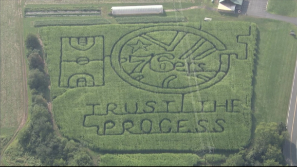 Souderton Farm Unveils Corn Maze to Celebrate 76ers and Their Rallying Cry