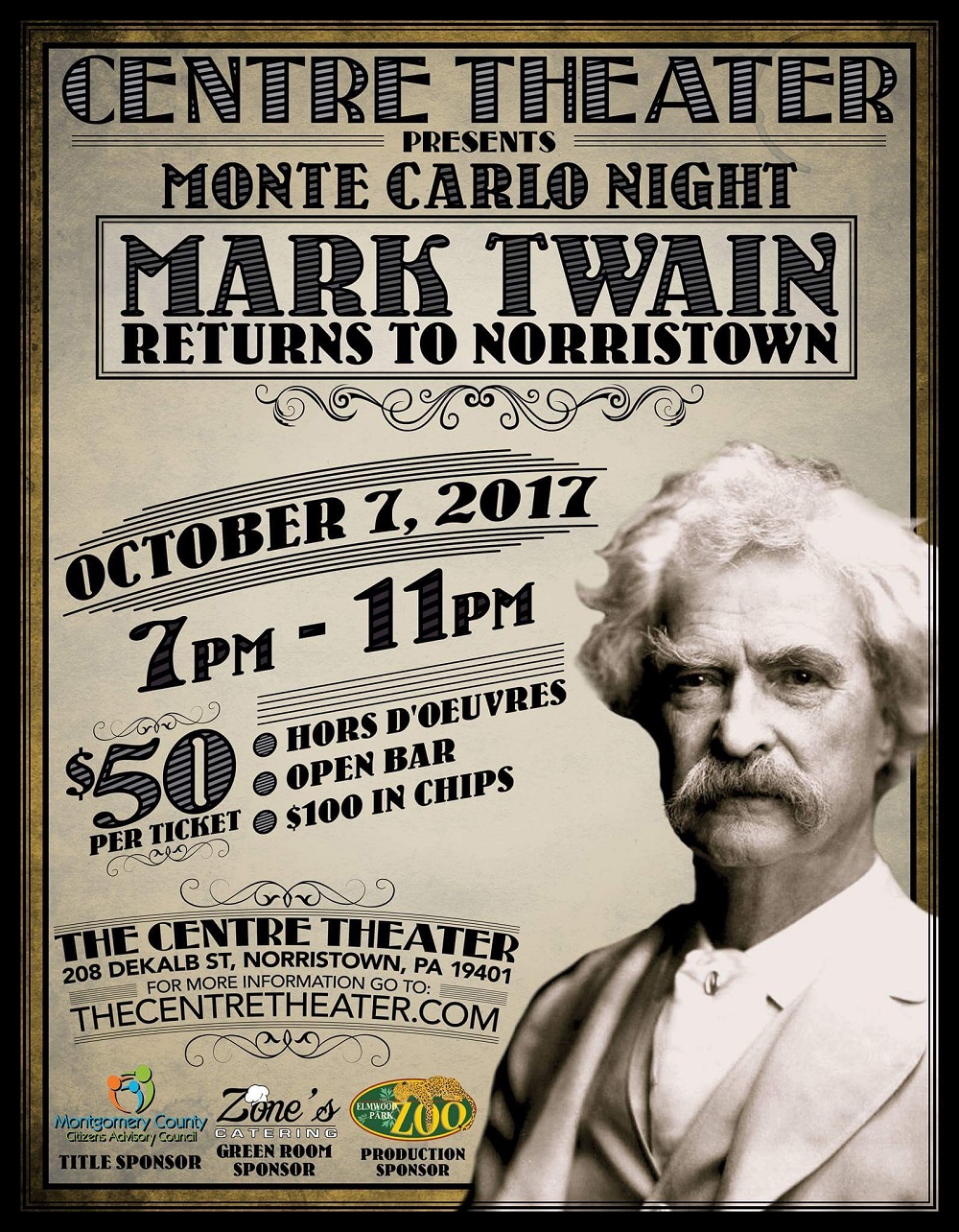 Mark Twain Returns to The Centre Theater in Norristown