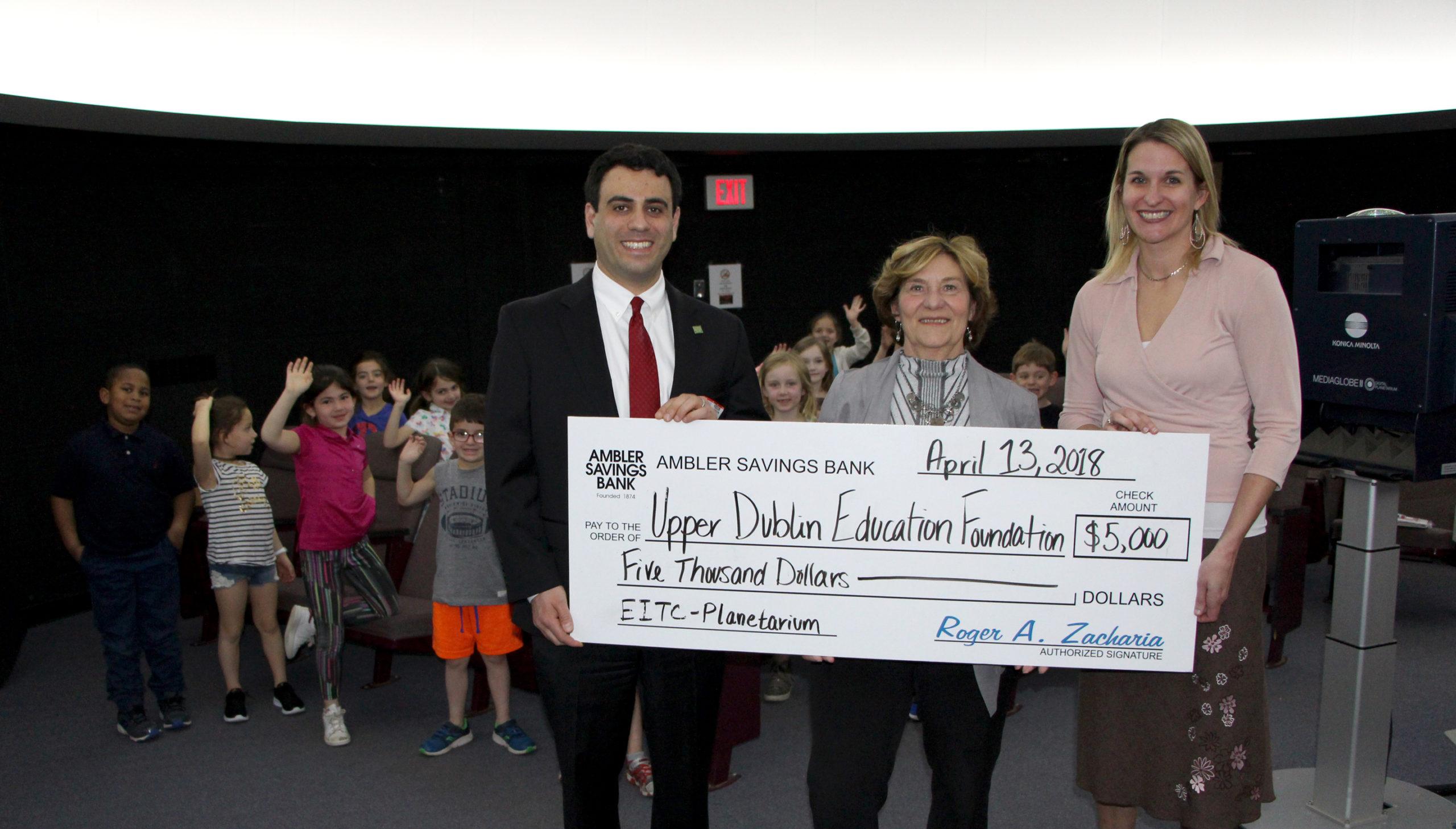 Upper Dublin School District's Planetarium receives donation from Ambler Savings Bank