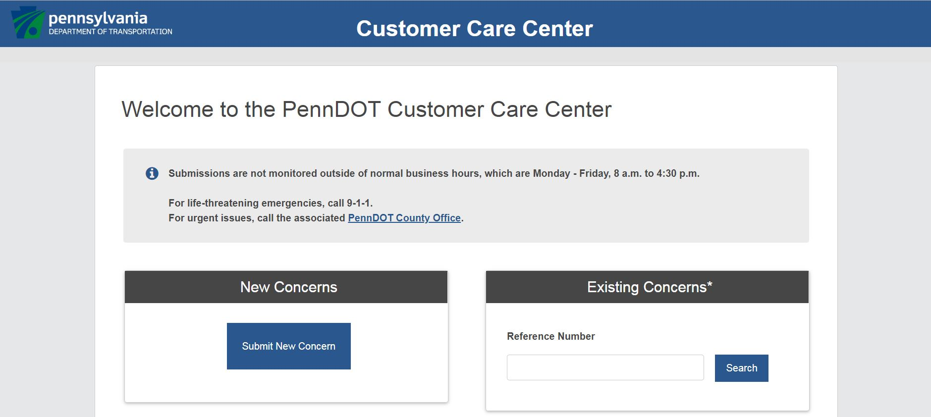 Modernized PennDOT customer care website to allow easier submissions, responses to customer roadway concerns