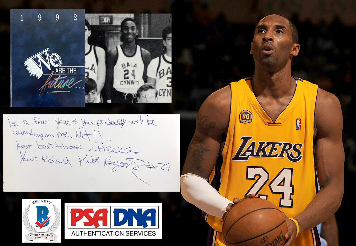 Auction House Puts Kobe Bryant Signed and Inscribed Bala Cynwyd Middle School Yearbook That Features Lakers Reference Up For Bids