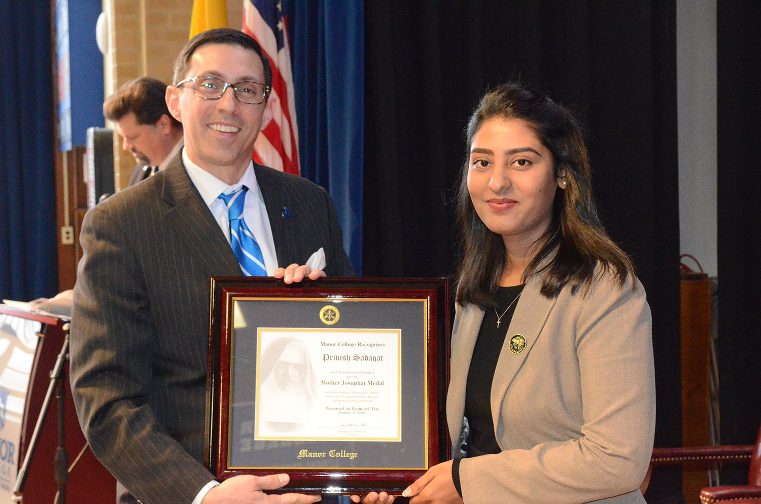 Manor College Honors Student's Journey from Native Pakistan to Jenkintown with Mother Josaphat Award