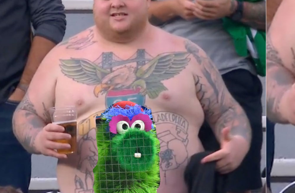 Penn State Abington Student Famous For His Many Sport-Related Tattoos Was Terrified of Changes Being Made To Phillies Mascot Phanatic