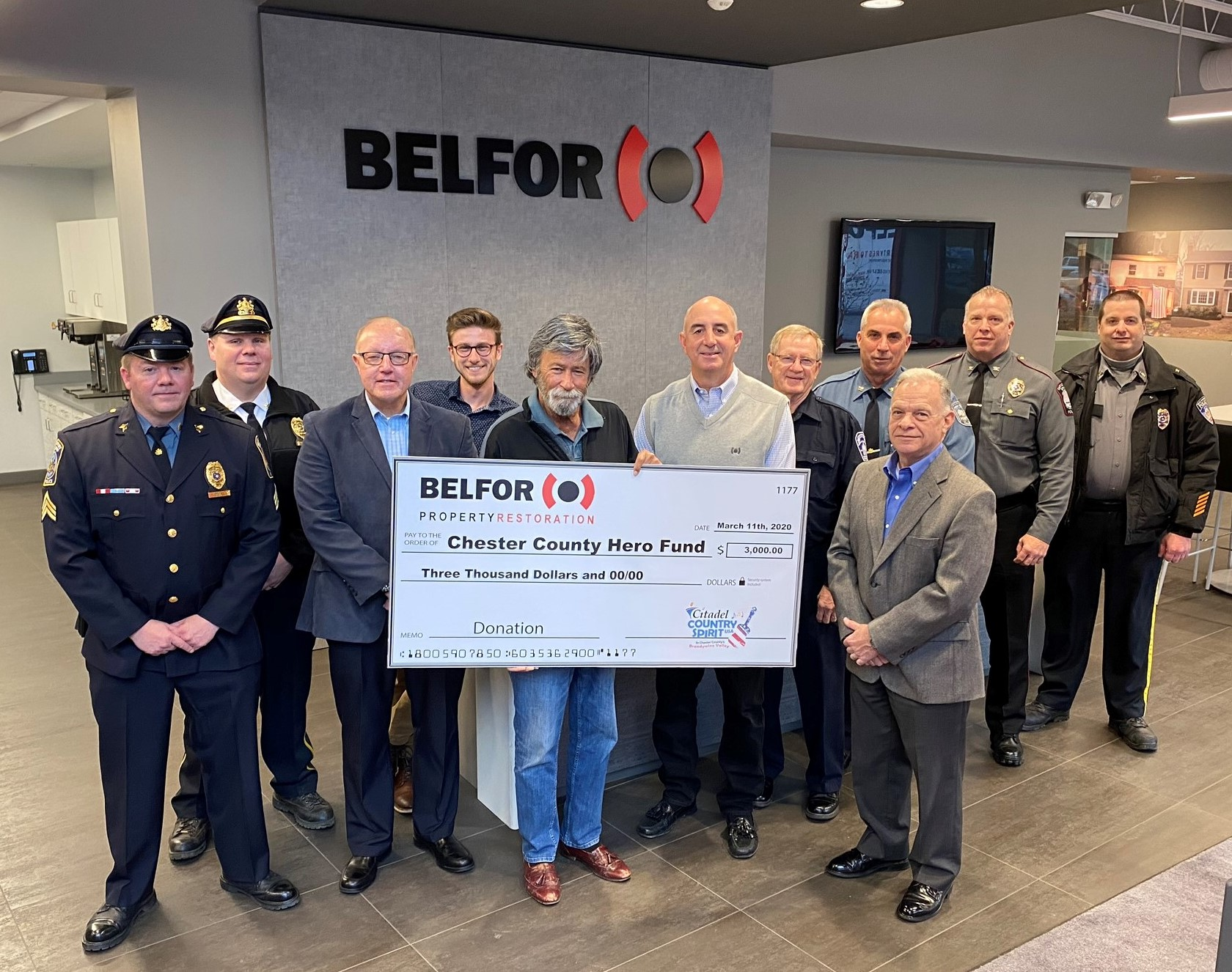 BELFOR Property Restoration Makes Citadel Country Spirit USA Contribution to Chester County Hero Fund
