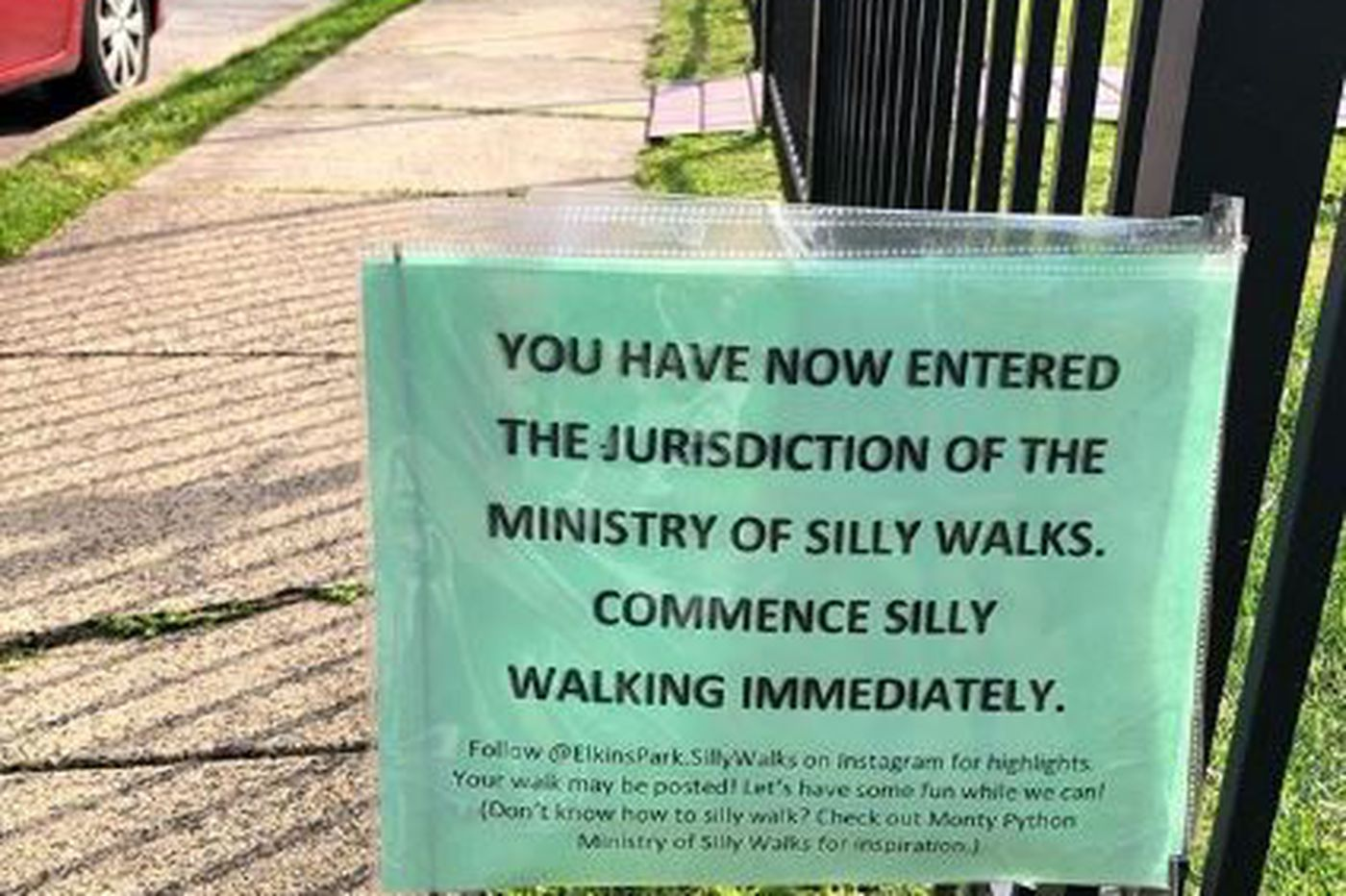 Elkins Park Monty Python Fan Gives Jurisdiction Over Her Sidewalk To Ministry of Silly Walks
