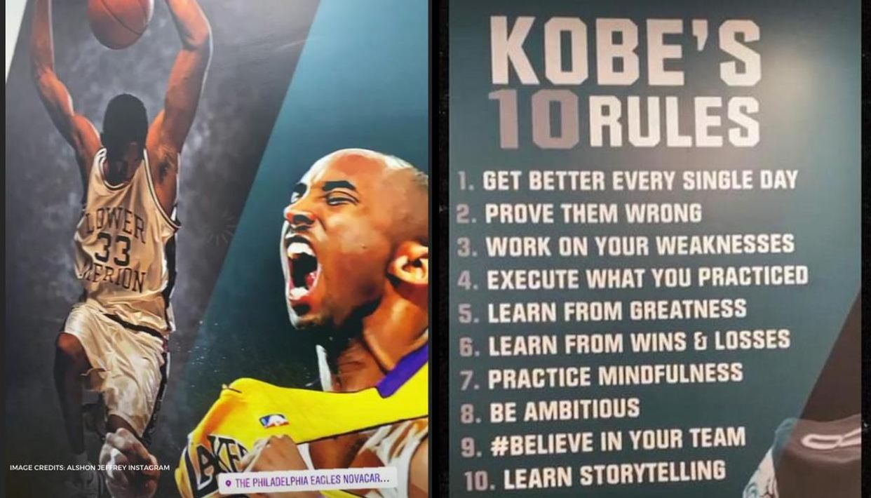 Eagles Honor Kobe Bryant with Tribute Wall Depicting LA Lakers Legend Wearing His Lower Merion Jersey