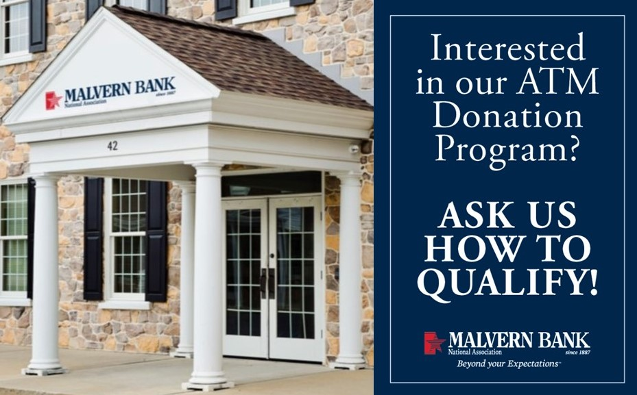Malvern Bank Continues to Support Local Nonprofits Through Its ATM Fee Revenue