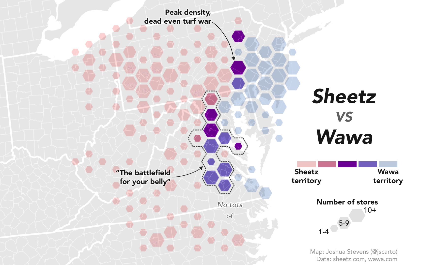 NASA Cartographer Weighs in on Wawa/Sheetz Turf War With a Twitter Store Map