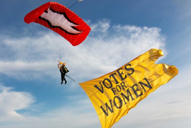 Women's Skydiving Team Skydived Over Justice Bell Send-Off Celebration in Valley Forge to Commemorate Women's Suffrage