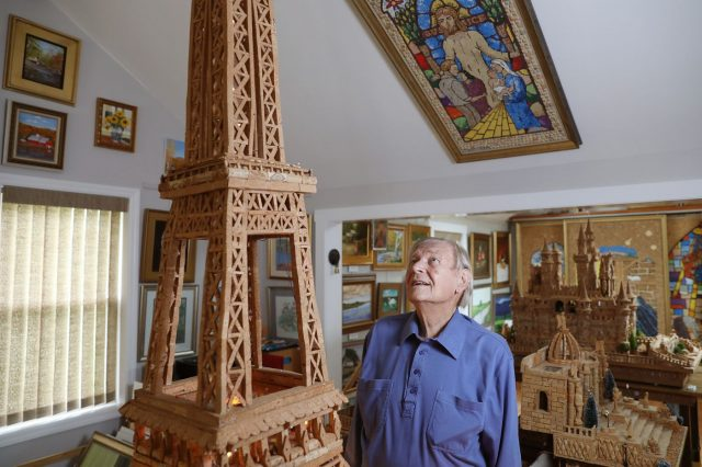 92-Year-Old Huntingdon Valley Artist Recreates Eiffel Tower Using Wine Corks