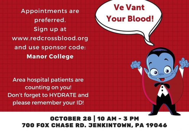 """Vee Vant Your Blood"" – Halloween Themed American Red Cross Blood Drive at Manor College"