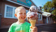 Boy holding a Merrymead Farm Ice Cream Cone
