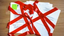 red tape on documents