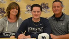 Conor Larkin Spring-Ford Area School District signs w Blue Jays