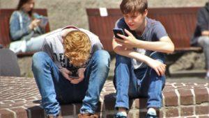 students on phones