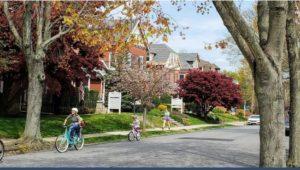 Kids riding bikes in a pleasant Media Borough neighborhood