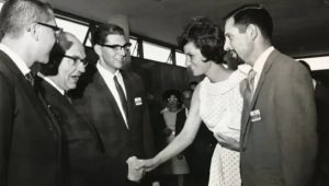 Gwen and Al welcome Levi Eshkol, Israel's Prime Minister, to Los Angeles, 1968.