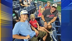 Aaron Pressley and his family at the Philadelphia Phillies game.