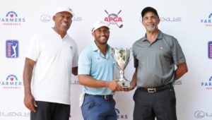 3 men golfers with trophy at APGA Tour