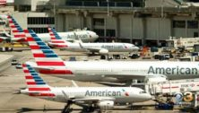 American Airlines airplanes parked at the Philadelphia International Airport.