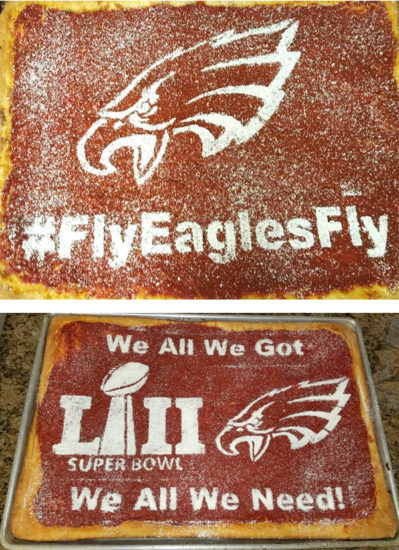Eagles-themed tomato pies from local bakery.