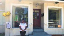 Owner of Soles SHoe sin front of store in Pottstown.