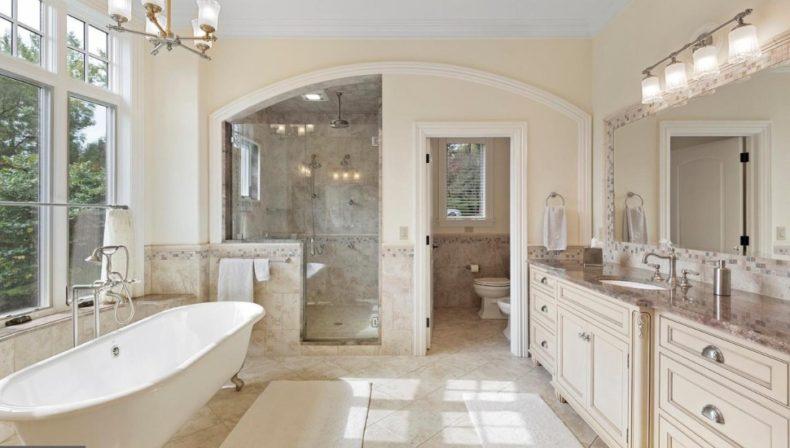 fancy marble bathroom.