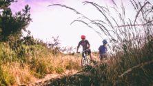 people mountain biking.