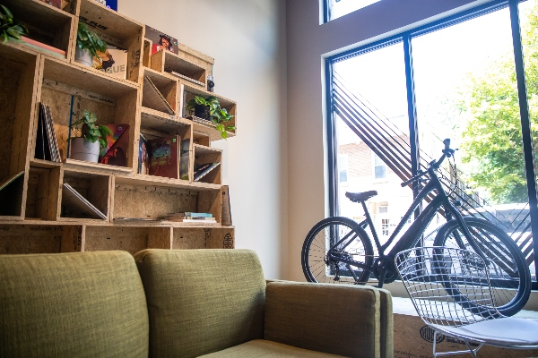 Bike shop with bike in window.