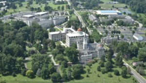 An aerial view of the Neumann University campus in Aston