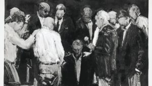 """Ordination"" by Stephen Kennedy, dark field monotype, 2021, 18""x24"" printmakers"